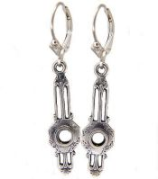Art Deco Style Sterling Silver Filigree Earring Settings - 3.5mm Round Stones