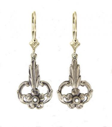 Art Nouveau Style Sterling Silver Floral Filigree Earring Settings - 2.5mm Round Stones