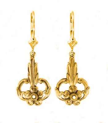 Art Nouveau Style Floral Filigree Earring Settings - 2.5mm Round Stones