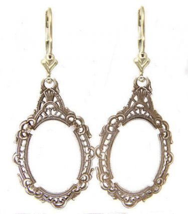 Antique Style Sterling Silver Filigree Earring Settings - 18x13mm Oval Cab or Cameo