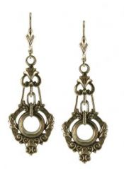 Victorian Style Sterling Silver Scroll Work & Foliate Dangle Earrings