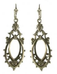 Victorian Style Sterling Silver Scroll Work & Floral Dangle Earrings