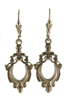 Victorian Style Sterling Silver Scroll Work Fleur de Lis Dangle Earrings
