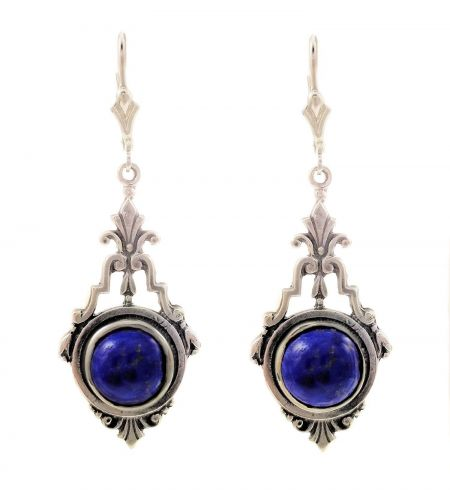 Antique Style Sterling Silver Filigree Scroll Earring Settings - 9.0mm Round Stones