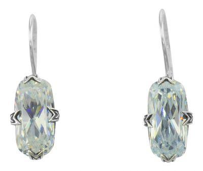 Vintage Style Sterling Silver Filigree 5.0ct Cubic Zirconia Earrings