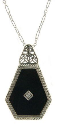 Art Deco Style Sterling Silver Filigree Onyx or Camphor Glass Pendant