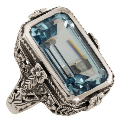 Antique Style Floral Filigree 5.5ct Blue Topaz Ring in Sterling Silver
