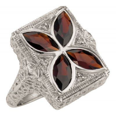 Art Deco Style Filigree Marquise Garnet and Diamond Ring in Sterling Silver