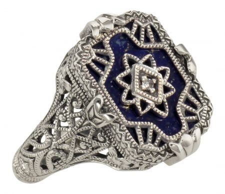 Art Deco Style Filigree Lapis Lazuli and Diamond Ring in Sterling Silver