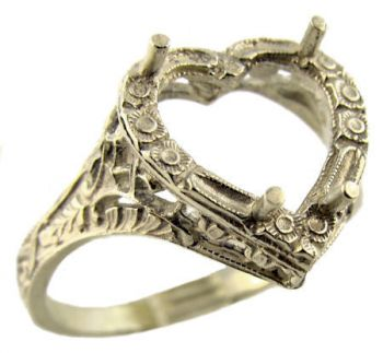 Antique Style Sterling Silver Filigree 10x10mm Heart Shaped Ring Setting