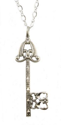 Victorian Style Sterling Silver Gate Key Pendant