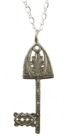 Arts and Crafts Style Sterling Silver Gate Key Pendant