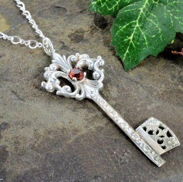 Fleur de Lis Victorian Gate Key Pendant in Sterling Silver for 5.0mm Round Stone
