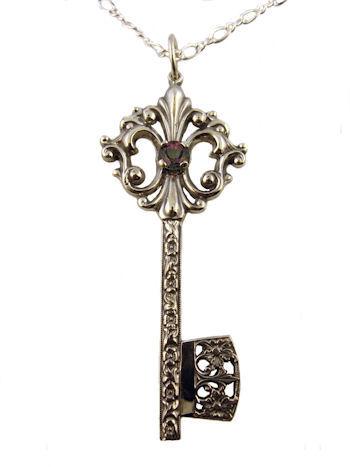 Fleur De Lis Victorian Gate Key Pendant In Sterling Silver