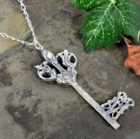 Ornate Victorian Gate Key Pendant in Sterling Silver