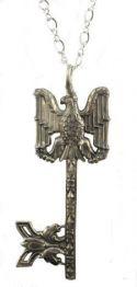Antique Style American Eagle Militaria Sterling Silver Gate Key Pendant