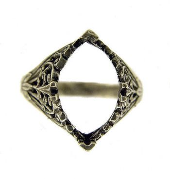 Antique Style Filigree 14x8mm Marquise Shaped Ring Setting