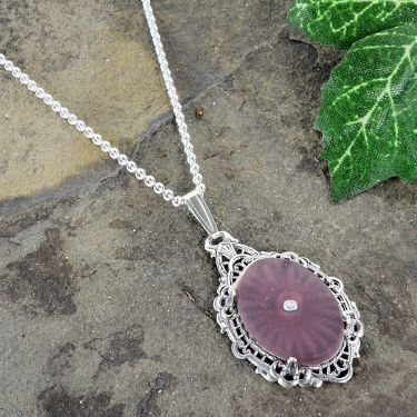 Antique Style Purple Sunray Crystal Filigree Pendant in Sterling Silver