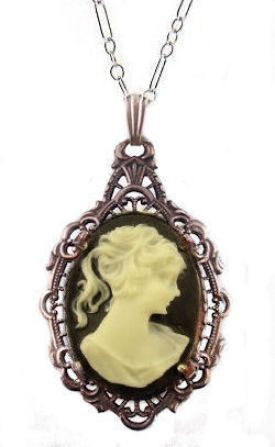 Antique Style Silver Filigree Framed Resin Cameo Pendant
