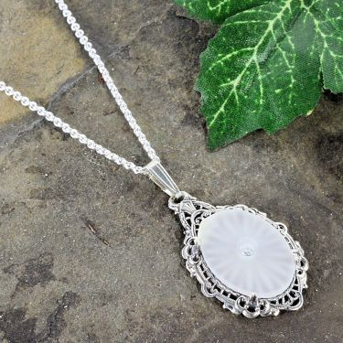 Antique Style Sunray Crystal Filigree Pendant in Sterling Silver