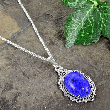 Antique Style Czech Lapis Glass Filigree Pendant in Sterling Silver