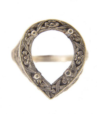 Antique Style Filigree 13x8mm Pear Shaped Ring Setting