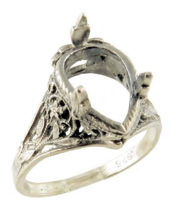 Antique Style Sterling Silver Filigree 10x7mm Pear Shaped Ring Setting