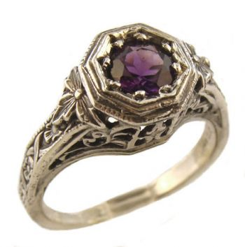 Antique Style Sterling Silver Filigree 4.0 Round Ring Setting