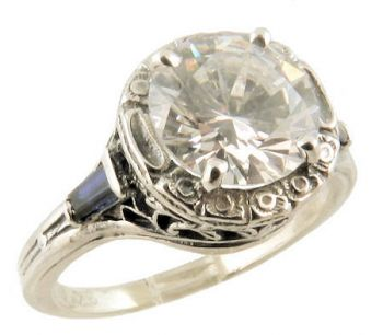 Art Deco Style Filigree 8.0mm Round and Baguette Shaped Ring Setting