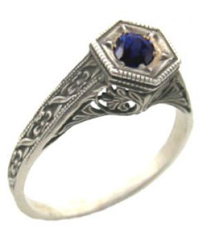 Antique Style Sterling Silver Filigree 4.5mm Round Shaped Ring Setting