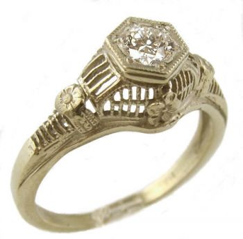Antique Style Filigree 4.0mm Round Shaped Ring Setting