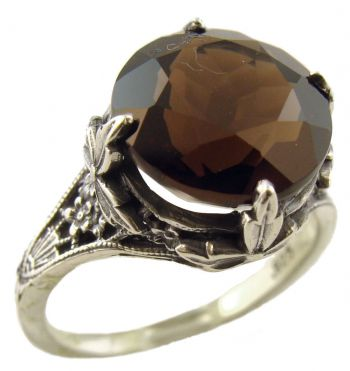 Antique Style Filigree 11.0mm Round Cabochon Ring Setting