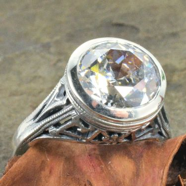 Arts & Crafts Style Sterling Silver Filigree 10.0mm Round Shaped Ring Setting