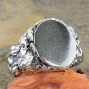 Art Nouveau Style Sterling Silver Indian Woman Signet Ring