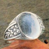Antique Style Sterling Silver Forget Me Not Flower Signet Ring