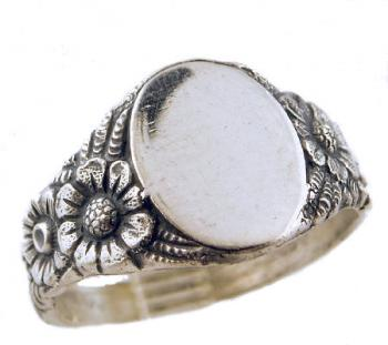 Art Nouveau Style Sterling Silver Sunflower Signet Ring