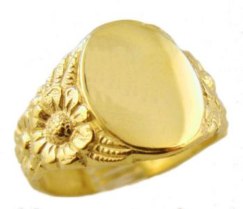 Art Nouveau Style 14k Gold Sunflower Signet Ring