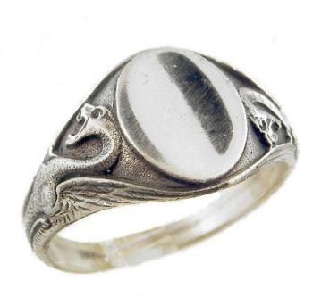 Victorian Style Sterling Silver Winged Dragon Signet Ring