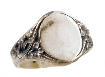 Art Nouveau Style Sterling Silver Floral Signet Ring