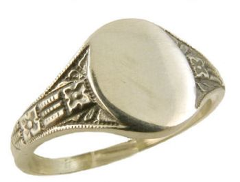 Art Deco Style 14k Gold Floral Signet Ring