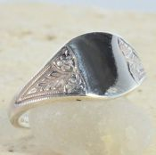 Victorian Style Sterling Silver Floral Signet Ring
