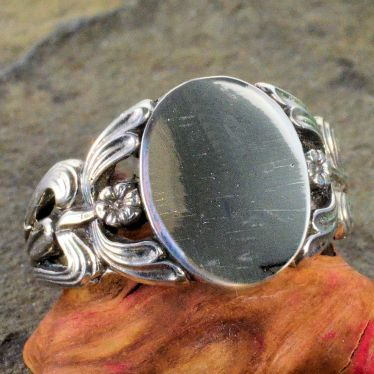 Victorian Style Sterling Silver Flower Signet Ring