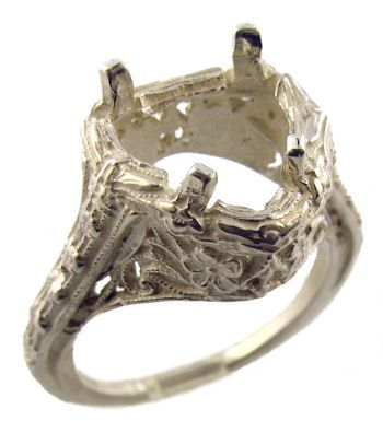 Antique Style Sterling Silver Filigree 9.0mm Trillion Shaped Ring Setting