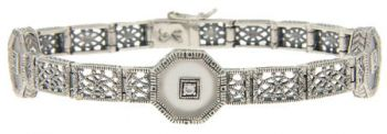 Art Deco Style Sterling Silver Filigree Link Tablet and Cubic Bracelet