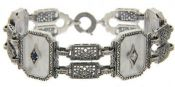 Art Deco Style Sterling Silver Filigree Link Starburst Crystal, Sapphire & Cubic Zirconia  Bracelet