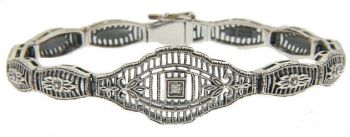 Art Deco Style Sterling Silver Filigree Link Gemstone Bracelet