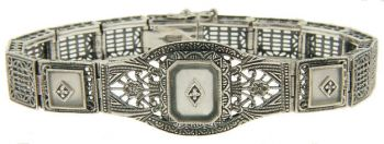 Art Deco Style Sterling Silver Filigree Link Tablet and Diamond Bracelet