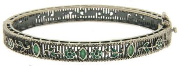 Vintage Style Sterling Silver Filigree Gemstone & Enamel Bangle Bracelet