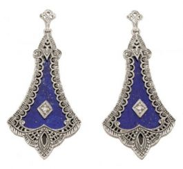 Art Deco Style Sterling Silver Filigree Lapis & Diamond Drop Earrings