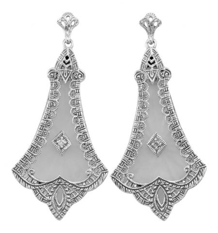 Art Deco Style Sterling Silver Filigree Sunray Crystal & Diamond Earrings